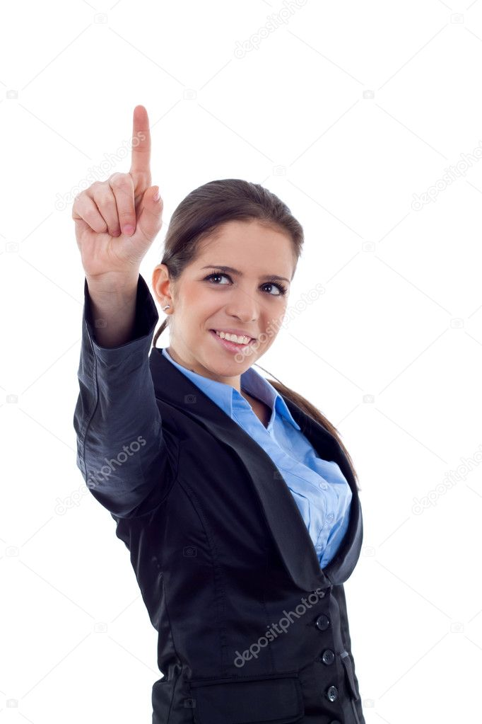 Businesswoman pointing her finger on imaginery virtual button.  Stock Photo #4748410