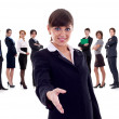 Isolated business team, focus on woman with handshake gesture - Stockfoto