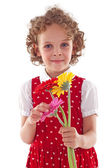 Cute girl holding floower for mother's day — Stock Photo