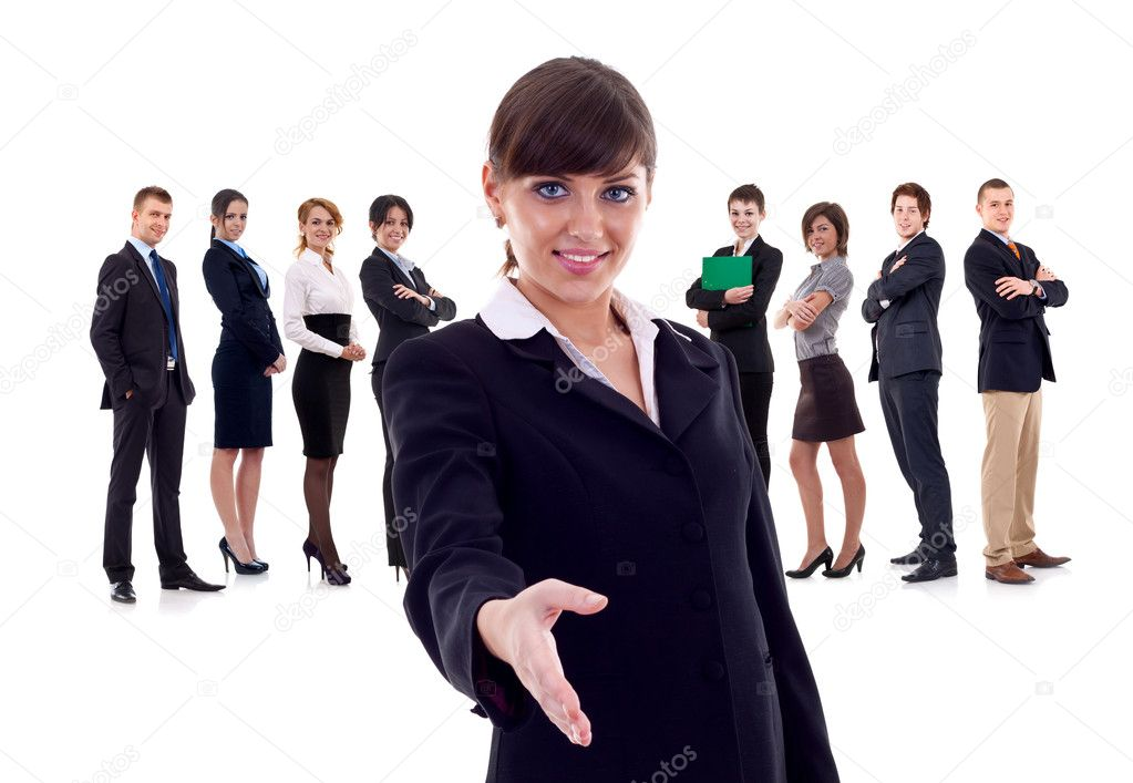 Isolated successful business team, focus on woman with handshake gesture. — Stock Photo #4996872