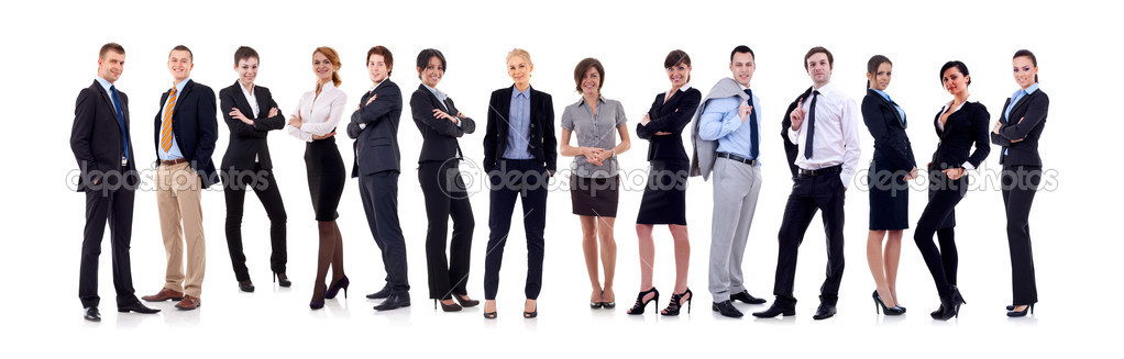 Business team formed of young business men and business women standing over a white background — Stock Photo #4996883
