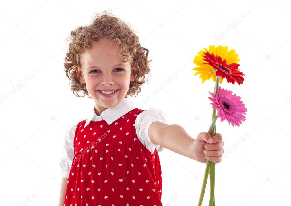 Smiling little girl giving flowers for mother's day, isolated  Stock Photo #4996904