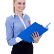 Business woman with clipboard and pen — Stock Photo