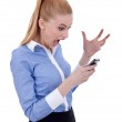 Angry businesswoman on mobile phone — Stock Photo #5122556