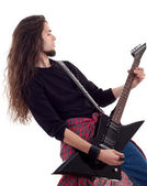Rock star with a guitar — Stock Photo