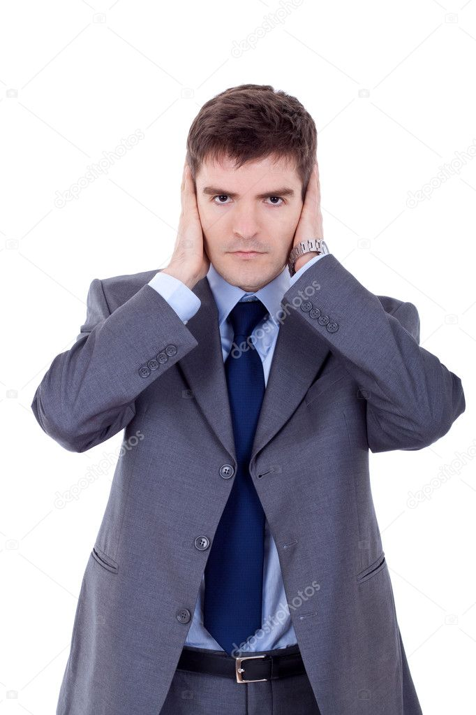 Young business man in the Hear no evil pose  — Stock Photo #5122654