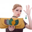 Fashion woman with purse and necklace — Stock Photo #5230944