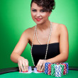 Dealing cards at poker table — Stock Photo
