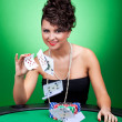 Woman playing with the cards — Stock Photo