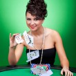 Woman playing with the cards — Stock Photo #5231369