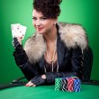 Woman wins with two ace in the casino - Stock Photo