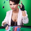 Woman with poker face making a bet — Stock Photo