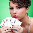 Foto de Stock  : Good hand in poker - four aces