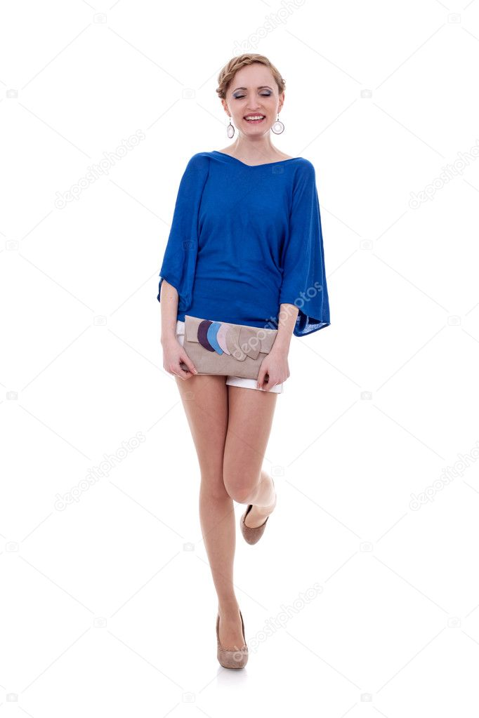 Elegant young woman with purse on white background expressing positivity by laughing — Stock Photo #5230966