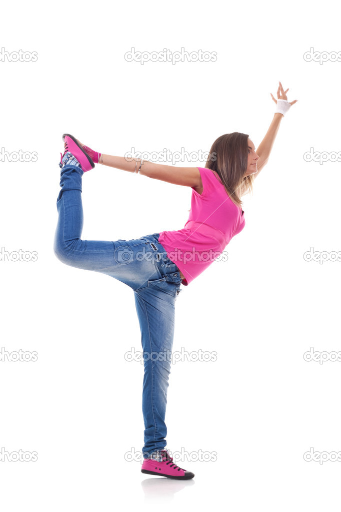 Stylish girl dancing modern ballet — Stock Photo ...