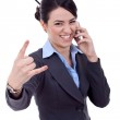 Happy business woman with phone — Stock Photo