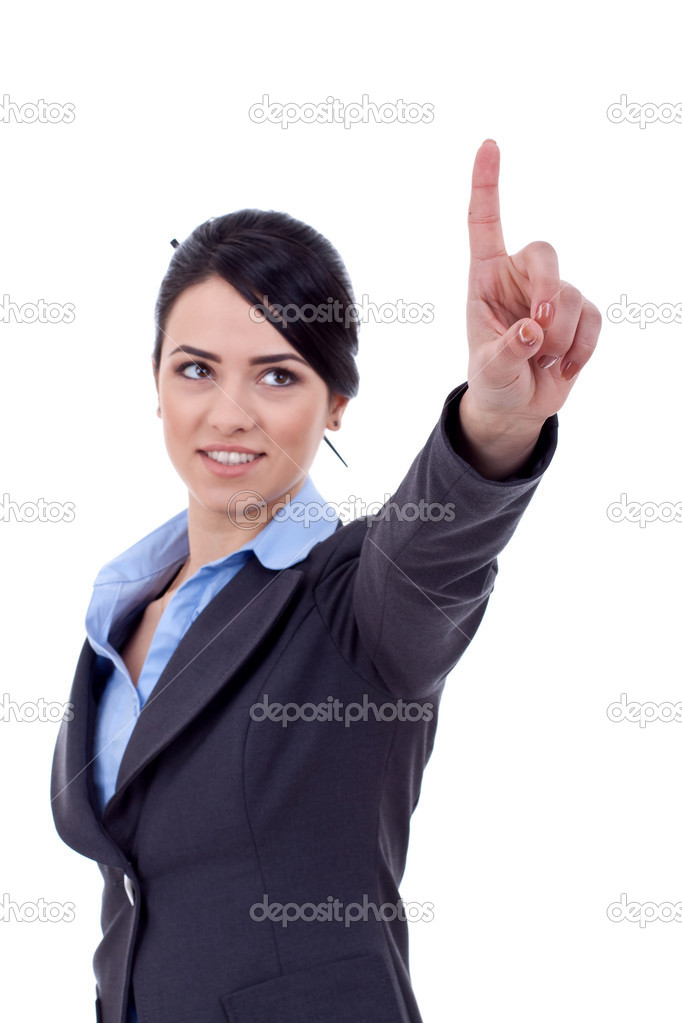 Business woman pointing her finger on imaginery virtual button — Stock Photo #5332238