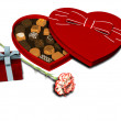 Heart shaped chocolate box, present and carnation. — Stock Photo