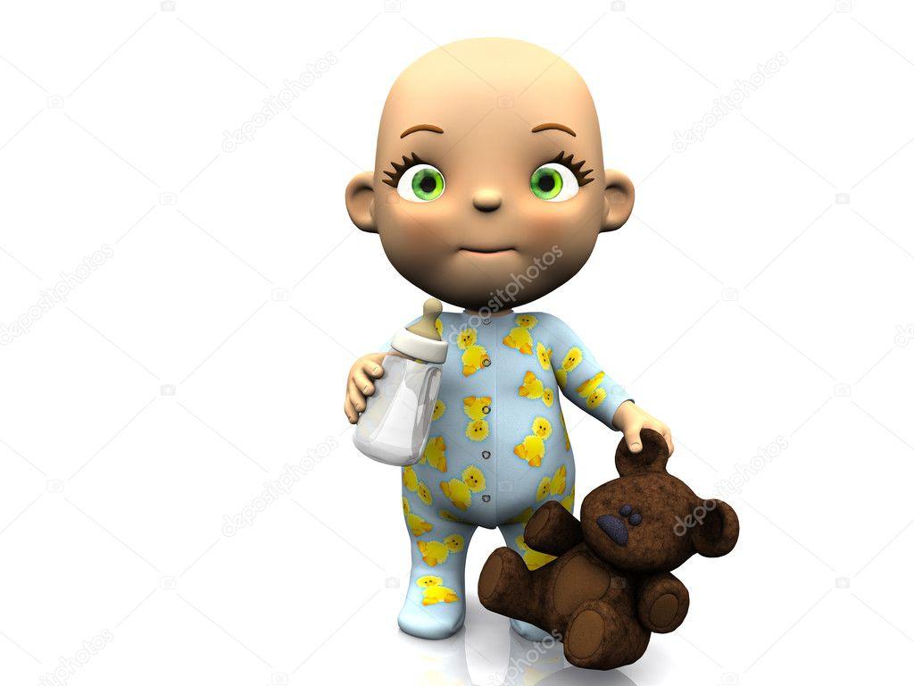 Cute cartoon baby holding a teddy bear and bottle