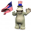 Stockfoto: Cartoon hippo celebrating 4th of July.