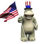 4 Temmuz Kutlamaları karikatür hipopotam — Stok fotoğraf