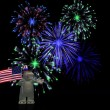 Cartoon hippo celebrating 4th of July. - Stock Photo