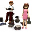 Cute cartoon boy and girl surrounded by books. — Stock Photo