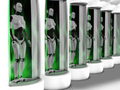 Female robots standing in sleeping chambers. — Stock Photo