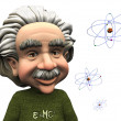 Stock Photo: Smiling cartoon Einstein with atoms.