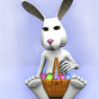 Cartoon easter bunny with a basket with eggs — Stock Photo