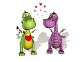 Dva draci v lásce — Stock fotografie
