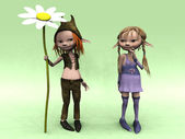 Cartoon boy and girl with big flower — Stock Photo