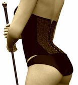 Closeup of a cabaret girl's corset — Stock Photo
