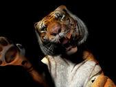 Closeup of tiger attacking — Stock Photo