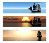 Coleção de 3 banners com navios no mar. — Fotografia Stock