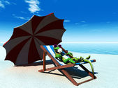 Cool cartoon gecko relaxing on the beach. — Stock Photo