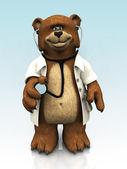 Cartoon bear dressed as doctor. — Stock Photo