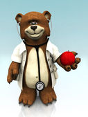 Cartoon bear dressed as doctor, holding an apple. — Stock Photo