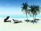 Deck chair on a tropical beach. — Stock Photo