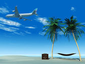 Airplane flying over tropical beach. — Stock Photo