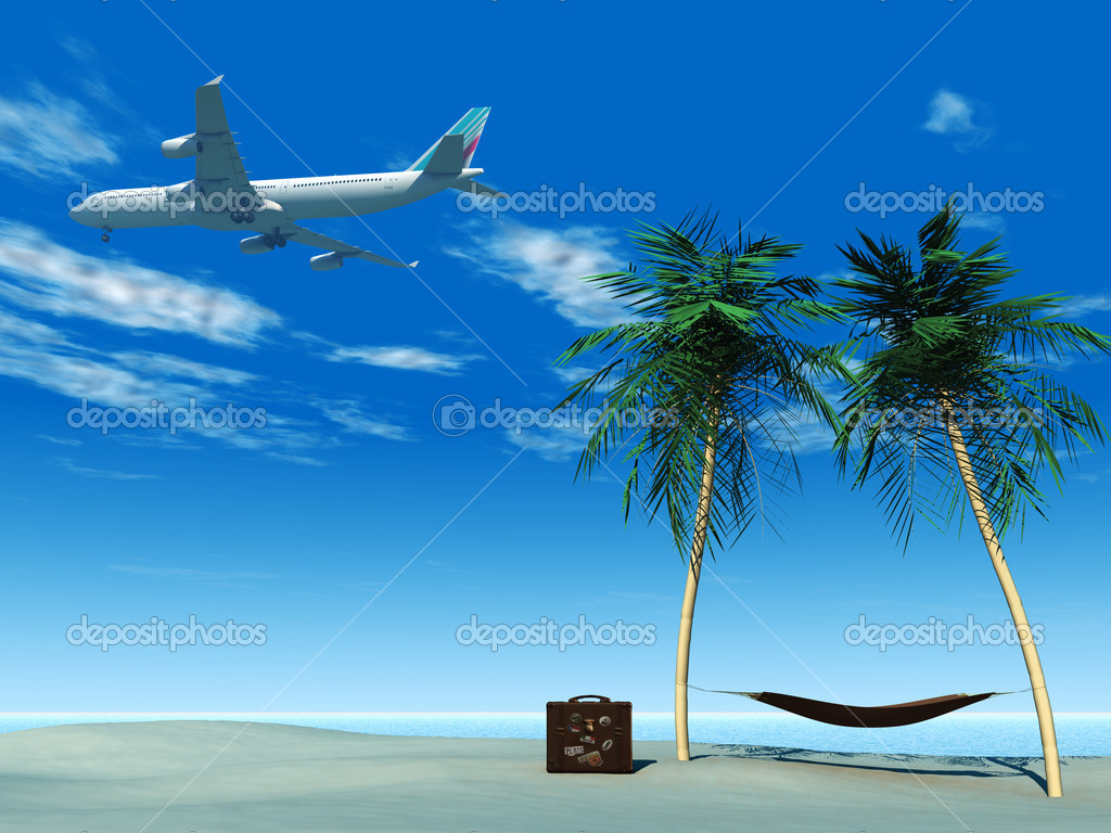 An airplane flying over a tropical beach. On the beach there are palm trees with a hammock between them and a travel suitcase. — Foto Stock #4177034