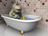 Cartoon hippo in bathtub. — Stock Photo