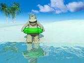 Cartoon hippo on the beach. — Stock Photo