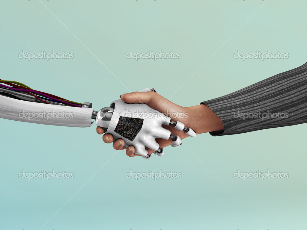 An image of the handshake between a robot and a human being.  Stock Photo #4197916