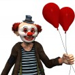 Smiling clown with red balloons. — Stock Photo