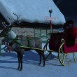 Stock Photo: Reindeer with sleigh waiting outside Santa Claus' house.