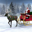 Reindeer pulling a sleigh with Santa Claus. - Stock Photo