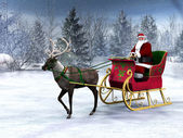 Reindeer pulling a sleigh with Santa Claus. — Photo