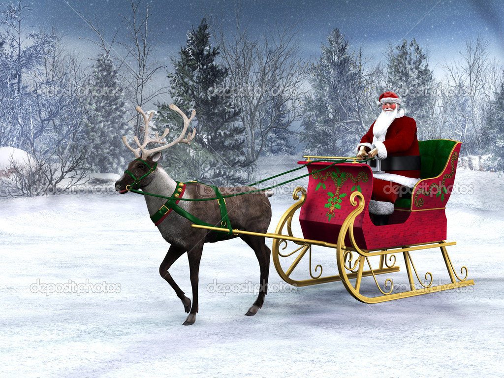 A reindeer pulling a sleigh with Santa Claus in it. The background is a beautiful snowy winter forest.  Stock Photo #4208527