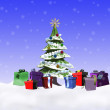 Foto Stock: Christmas tree with gifts underneath.